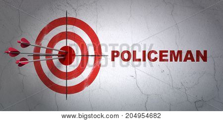 Success law concept: arrows hitting the center of target, Red Policeman on wall background, 3D rendering