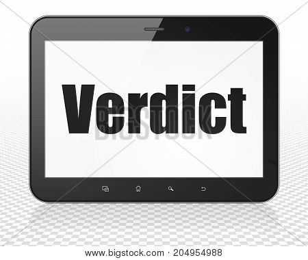 Law concept: Tablet Pc Computer with black text Verdict on display, 3D rendering