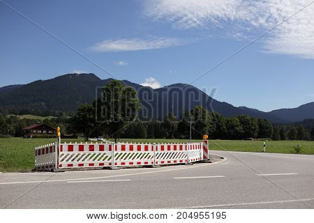 large barricade on a road in bavaria