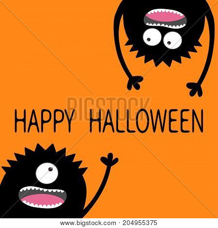 Happy Halloween. Two black screaming monster head silhouette set. Eyes teeth tongue hands. Hanging upside down. Funny Cute cartoon character. Baby collection. Flat design. Orange background. Vector