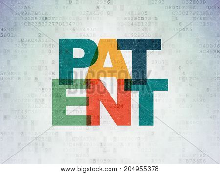 Law concept: Painted multicolor text Patent on Digital Data Paper background