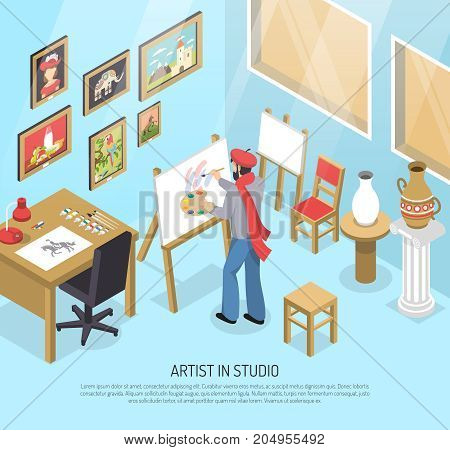 Artist with paintbrush and palette near easel with canvas in blue studio with artworks isometric vector illustration
