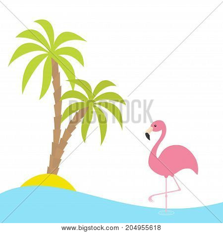 Pink flamingo standing on one leg. Two palms tree island ocean see water. Exotic tropical bird. Zoo animal collection. Cute cartoon character. Flat design. White background. Isolated. Vector