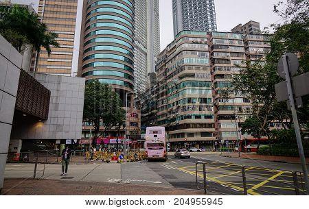 Traffic At Downtown In Hong Kong