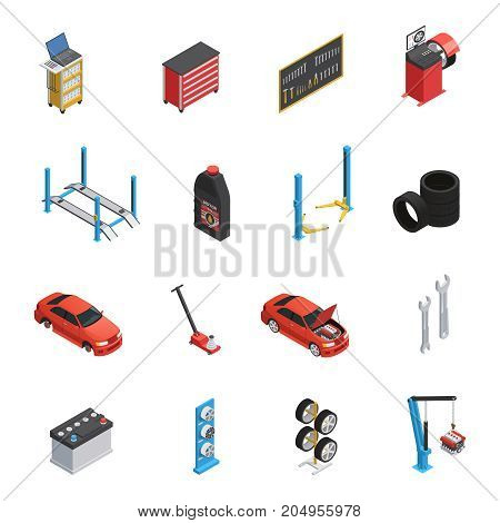 Car maintenance autoservice isometric icons set with garage equipment tools auto parts engine oil isolated vector illustration