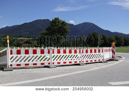 large barrier on a street in bavaria