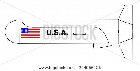A cruise missile outline drawing over a white background