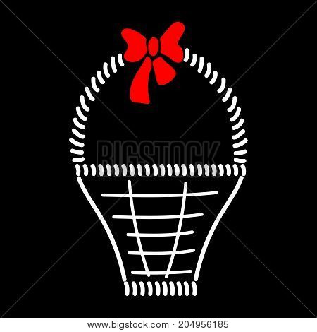 Basket with braid sign. Image of handmade weave. Color icon isolated on black background. Decorative wicker basket with red bow for gift. Logo for invitation or selebration. Stock vector illustration