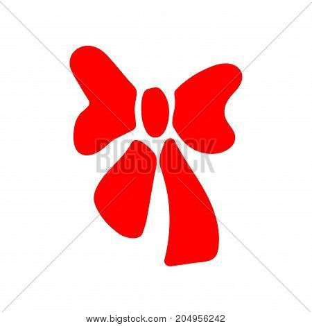 Red bow sign. Image of elegant present. Beautiful icon isolated on white background. Surprise symbol. Logo for romance or business. Mark of decoration for gift. Stock vector illustration