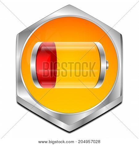 orange red Battery Button - 3D illustration