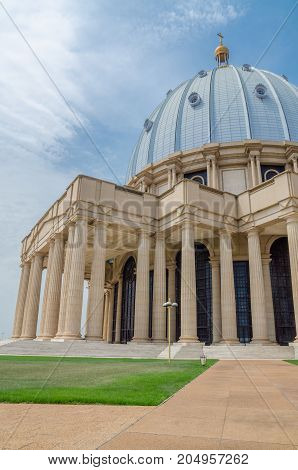 The famous landmark Basilica of our Lady of Peace, a record breaking Christian place of worship, Yamoussoukro, Ivory Coast, West Africa.
