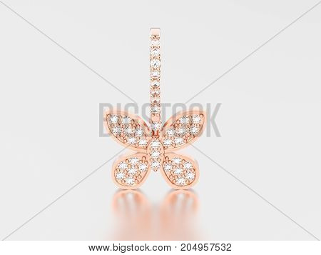 3D illustration rose gold decorative diamond butterfly earring with reflection and shadow on a grey background