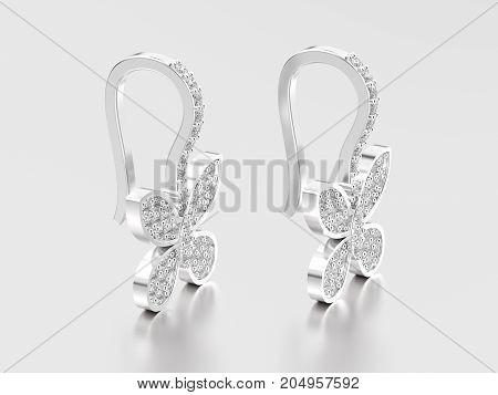 3D illustration two white gold or silver decorative diamond butterfly earrings with reflection and shadow on a grey background