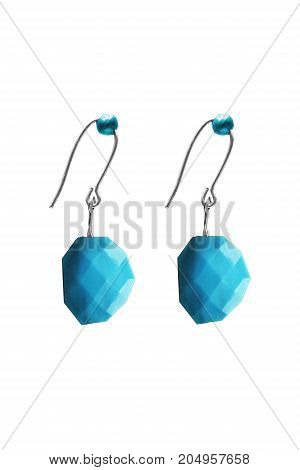 Elegant turquoise faceted earrings on white background