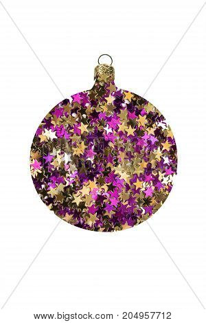 Golden and purple glitter in the shape of christmas decorative ball isolated over white