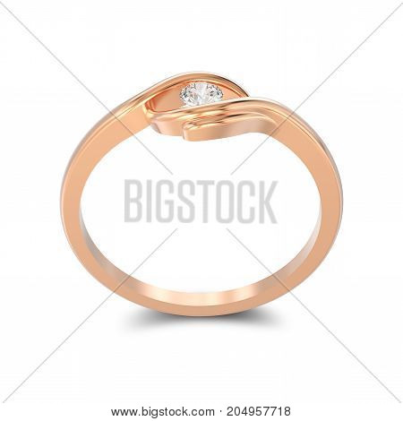3D illustration isolated rose gold engagement illusion twisted ring with diamond with shadow on a white background
