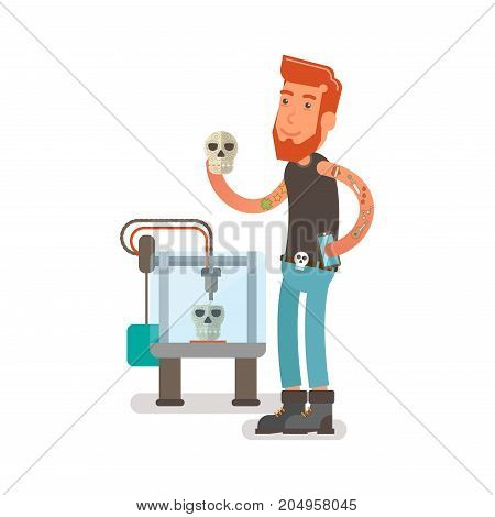 Generation Y, Millennial Flat vector illustration showing a guy with beard and tattoos on hands working with a 3D printer and making plastic skulls with floral pattern.