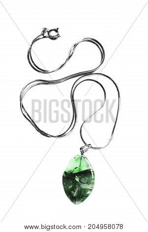 Green nephrite pendant on a chain isolated over white