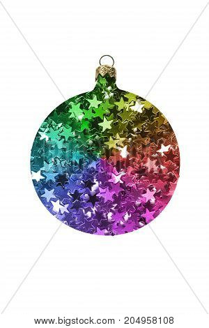 Colorful glitter in the shape of christmas decorative ball on white background