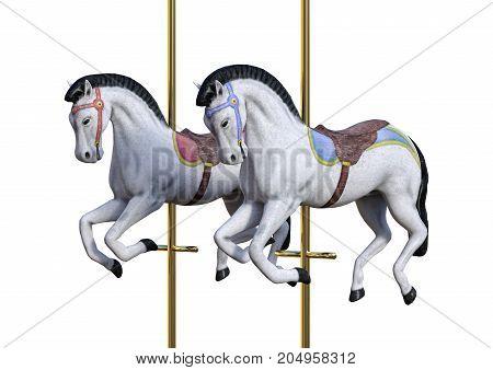 3D Rendering Carousel Horses On White