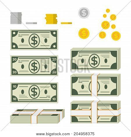 A set of different paper green money. Single bills bundles of money gold and silver coins. Flat illustration isolated on white background.