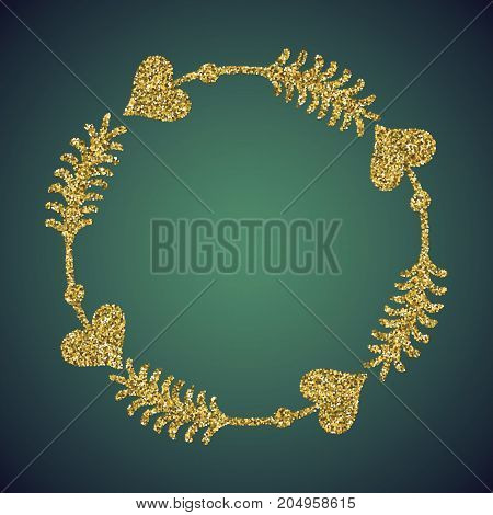 A glamour brilliant jewelry gold glittering hand drawn heart and Cupid arrow symbol. Elegant decoration frame of love icon. A small scattering gold circles