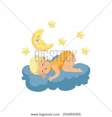Cute little boy lying on cloud and sleeping under the Moon and stars, child resting at night, kids imagination and dreams vector illustration isolated on a white background