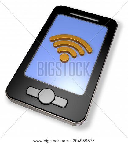 wifi symbol on smartphone display - 3d rendering