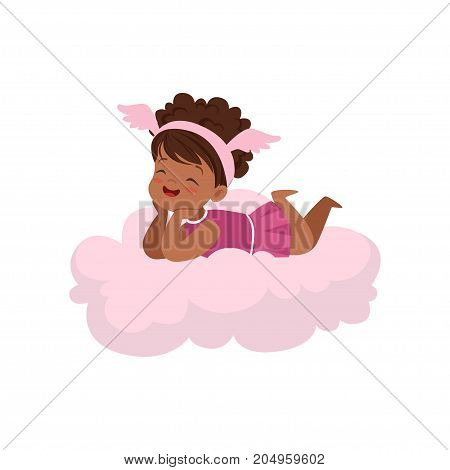 Sweet happy african little girl lying on pink cloud, kids imagination and dreams vector illustration isolated on a white background