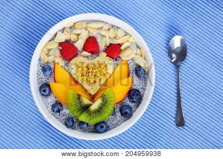 Fruits, Chia Seeds, Almond Milk Pudding