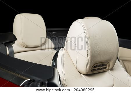 Modern race car  white leather interior cabriolet