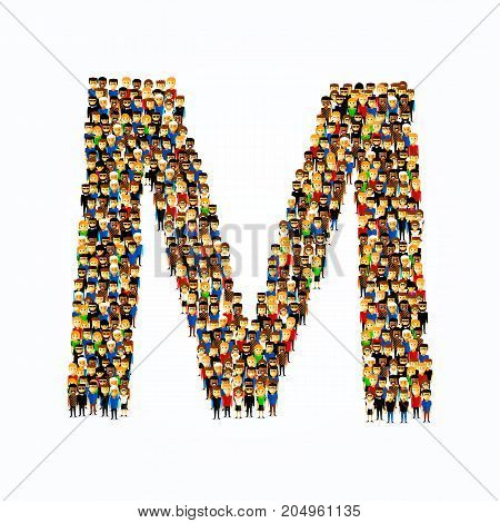 A group of people in the shape of English alphabet letter M on light background. Vector illustration.
