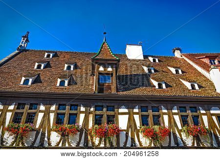 Picturesque historic Renaissance-style the Hall aux Blés granary in Obernai, near Strasbourg, France