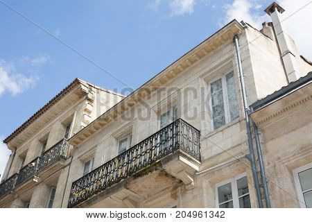 Facade Of A French Mansion In France In Bordeaux