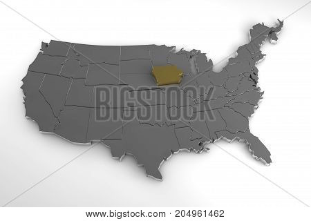 United States of America, 3d metallic map, with Iowa state highlighted. 3d render