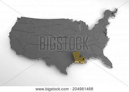 United States of America, 3d metallic map, with Louisiana state highlighted. 3d render