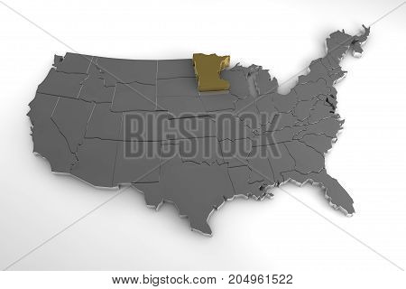 United States of America, 3d metallic map, with minnesota state highlighted. 3d render