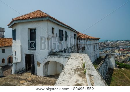 Infamous medieval defence structure Fort Coenraadsburg overlooking Elmina Castle, Gold Coast, Elmina, Ghana, West Africa.