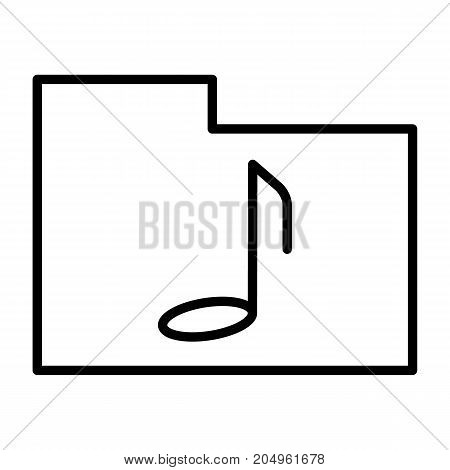 Music folder thin line icon. 96x96 for Web Graphics and Apps.  Simple Minimal Pictogram.Vector