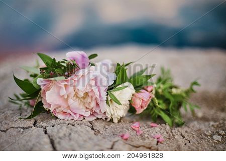 Beautiful Summer Bouquet Of Roses Lies On The Cracked Earth. Beautiful Wedding Bouquet