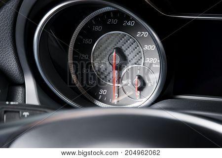 Car speedometr, black and chrome, soft light