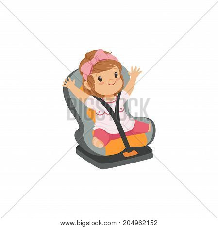 Sweet little girl sitting in grey car seat, safety car transportation of small kids vector illustration isolated on a white background