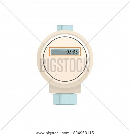 Domestic electric water meter, household measuring device vector illustration isolated on a white background