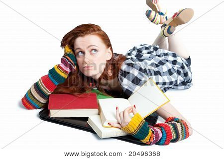 Young woman with books