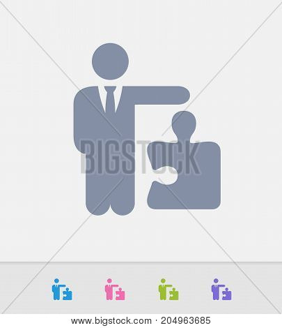 Businessman Holding Puzzle Piece - Granite Icons. A professional, pixel-perfect icon designed on a 32 x 32 pixel grid and redesigned on a 16 x 16 pixel grid for very small sizes.