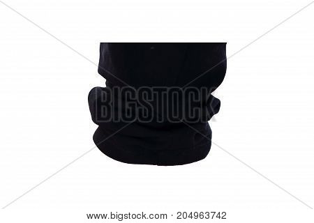 Black Jeans of pant leg isolated on white background with clipping path. Close up of black crease fabric on white background.