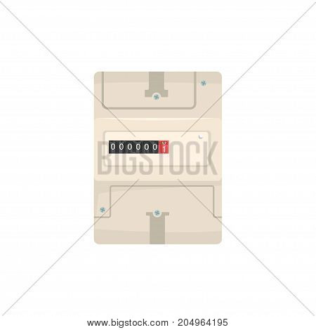 Analog electric meter, household measuring device vector illustration isolated on a white background