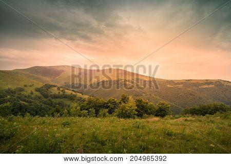 Overcast landscape in mountains. Rural scene. Beautiful nature.