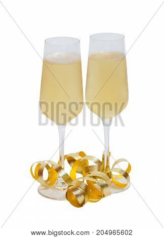 Two glasses of champagne isolated on white background. Selective focus