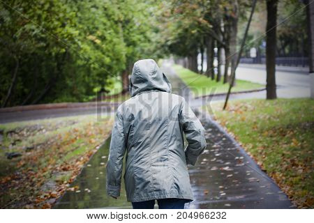 Back of woman in jacket with hood in cold rainy autumn weather. Walking in autumn yellow leaves path